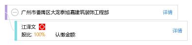 江 江泽文 他有1家公司,分布如下 广东共1家 广州市番禺区大龙泰旭嘉