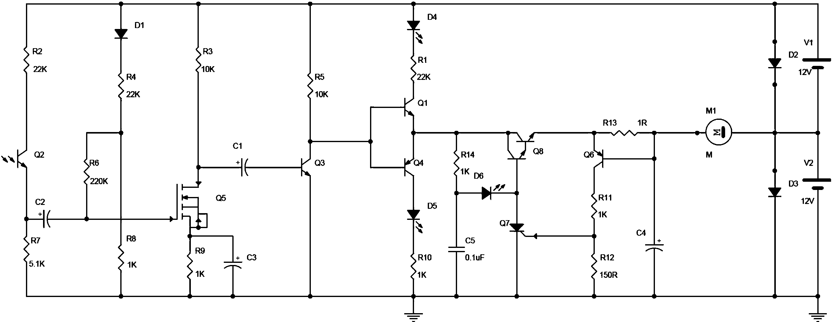 一种光控自保护直流电机电路