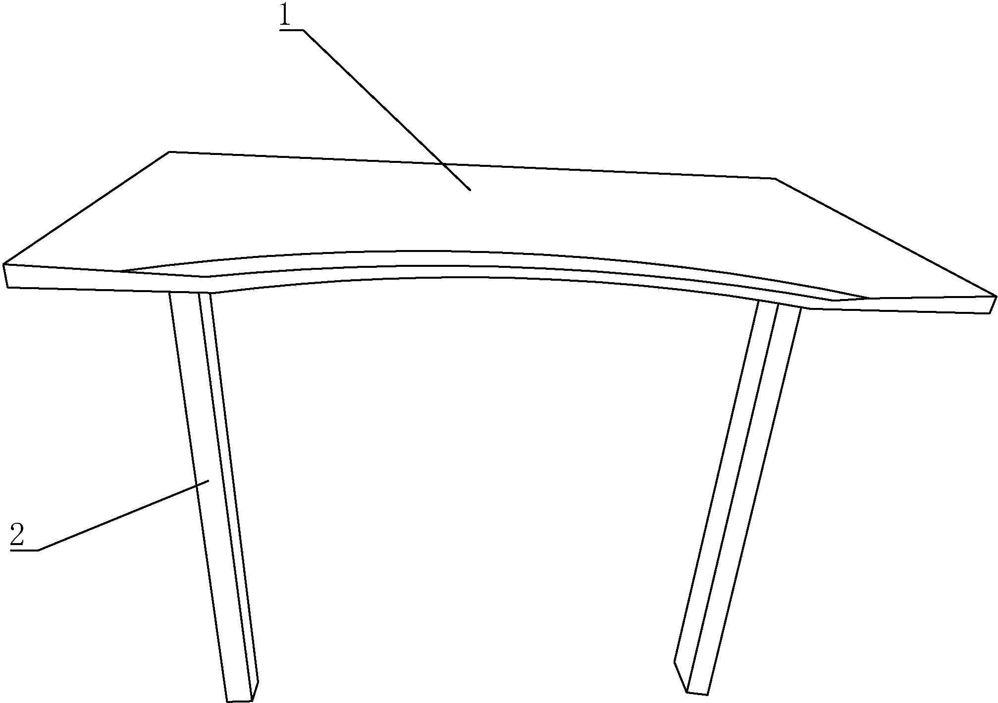 一种圆弧办公桌及其切割装置、生产工艺