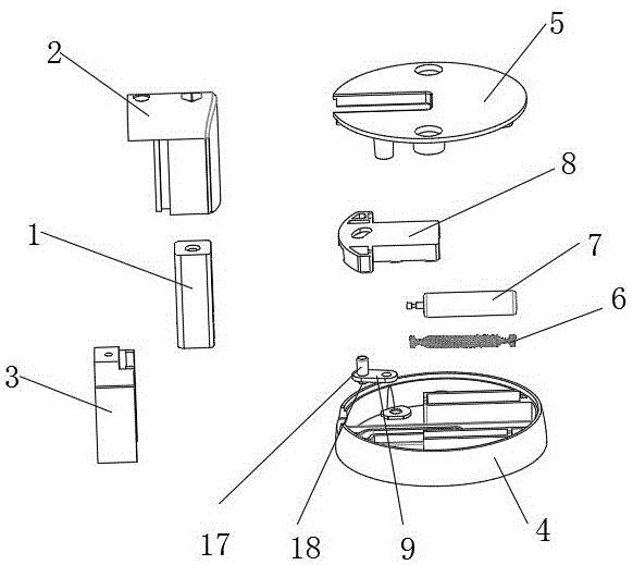 一种盘座式门板定位器