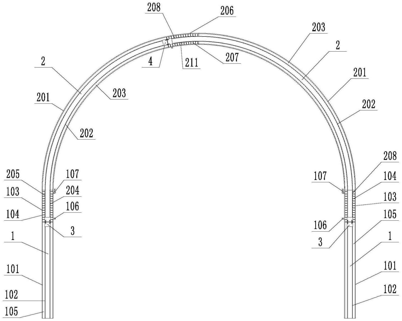 装配式中空夹层钢管混凝土拱架及其施工方法