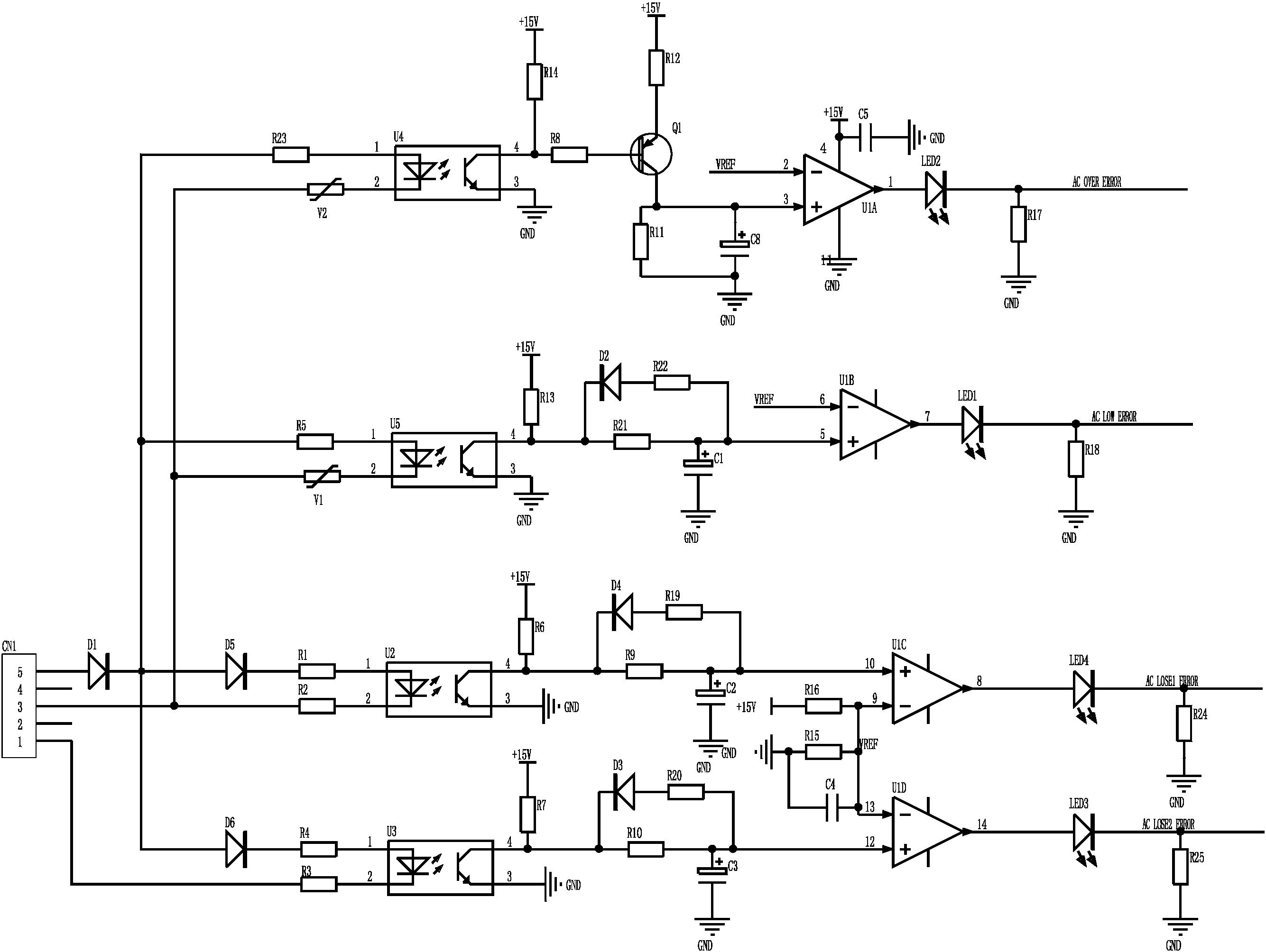 基于峰值电压检测的三相电过压,欠压,缺相报警电路