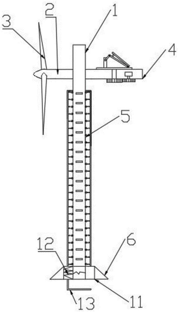 一种具有爬梯的风力发电钢结构