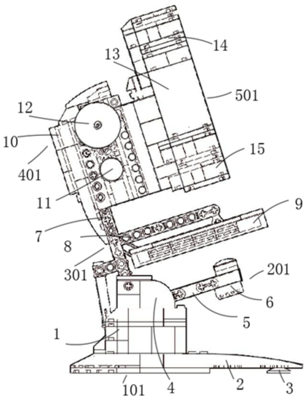 一种由全积木零件制作的显微镜