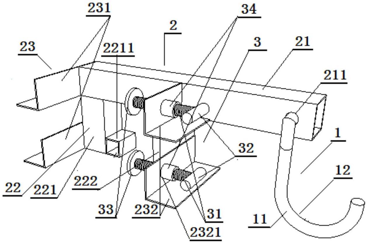 一种适于基建装修阶段用的卡墙式临时电缆挂钩